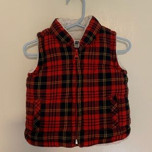 Sherpa lined plaid vest baby